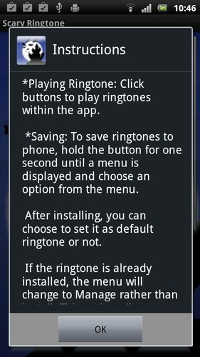 Free Scary Ringtone cell phone app